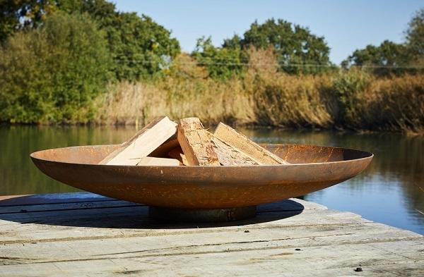 corten steel fire bowl low shallow modern metal firepit