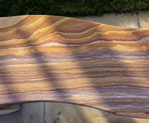 sandstone garden bench honed markings