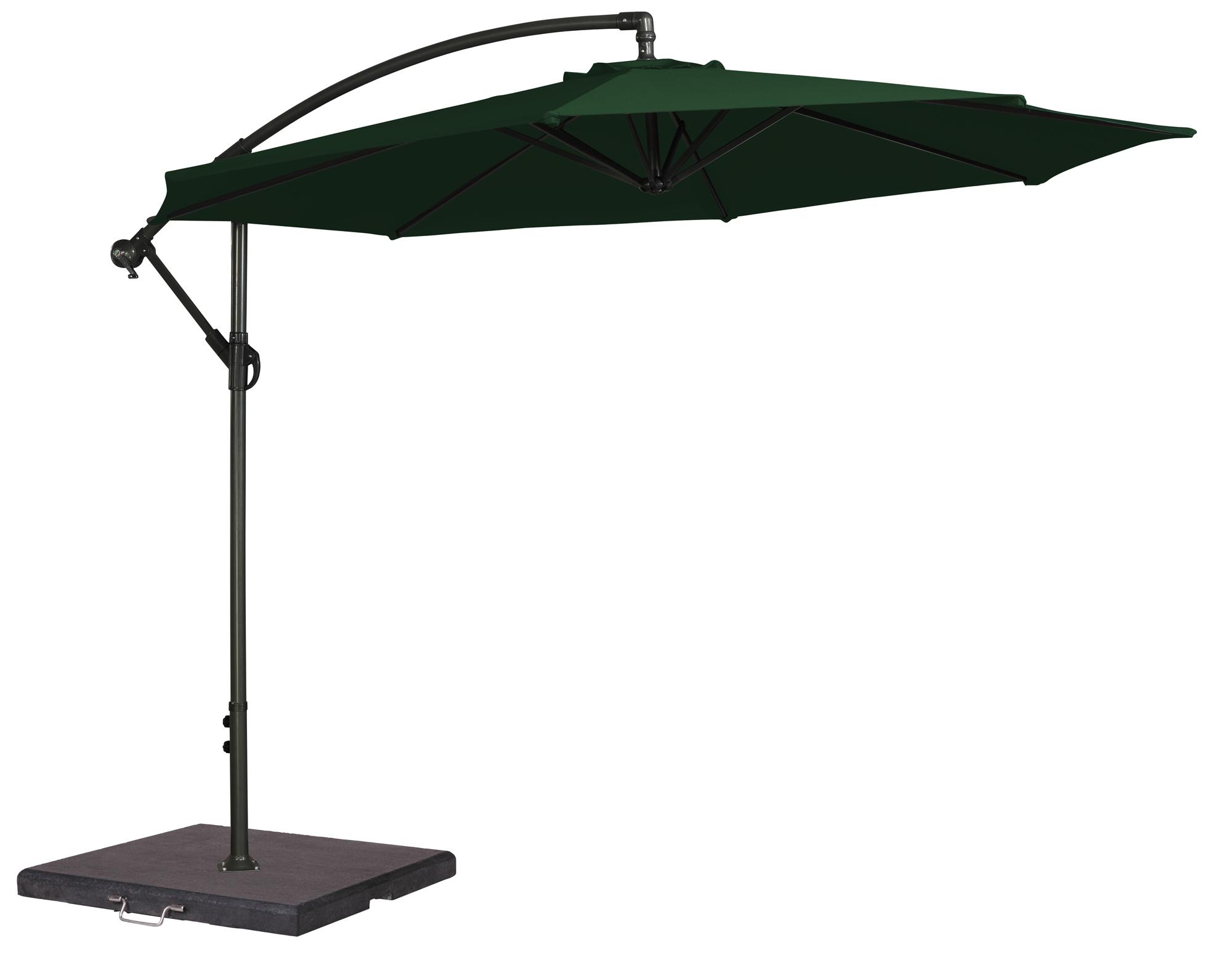cantilever parasol in green for the garden with aluminium frame