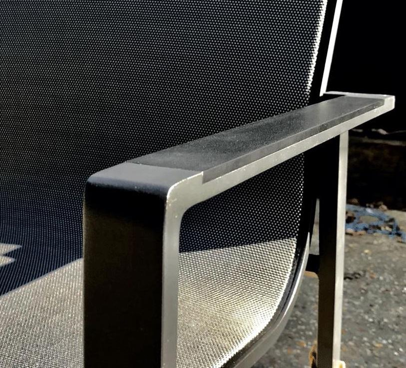 detail aluminium garden dining chair sling stackable