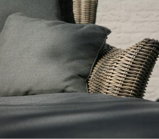 grey cushion and rattan detail on sunbed