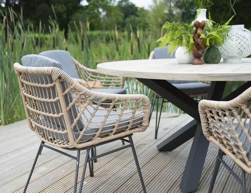 rope weave garden dining chairs set with round teak garden table