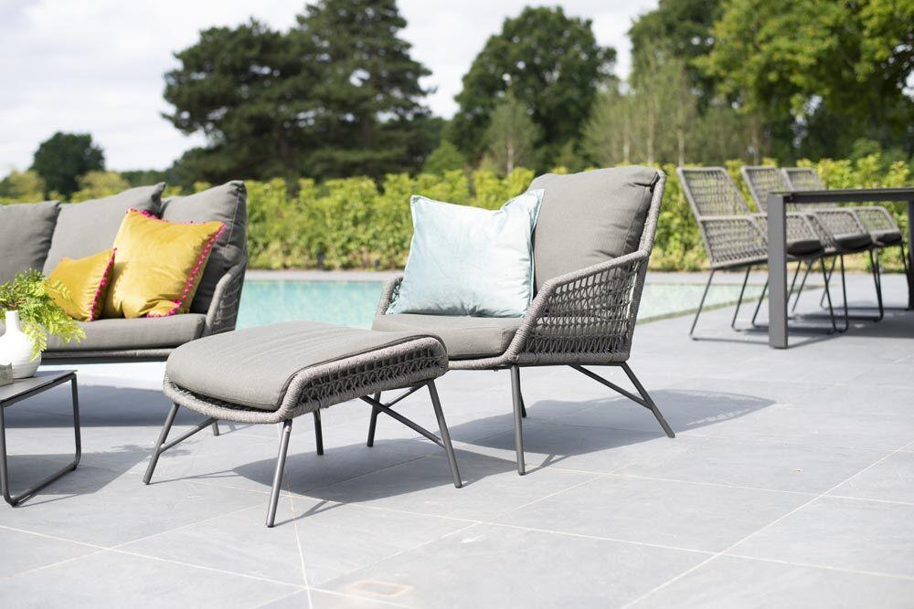 grey rope garden armchair and footstool modern weatherproof