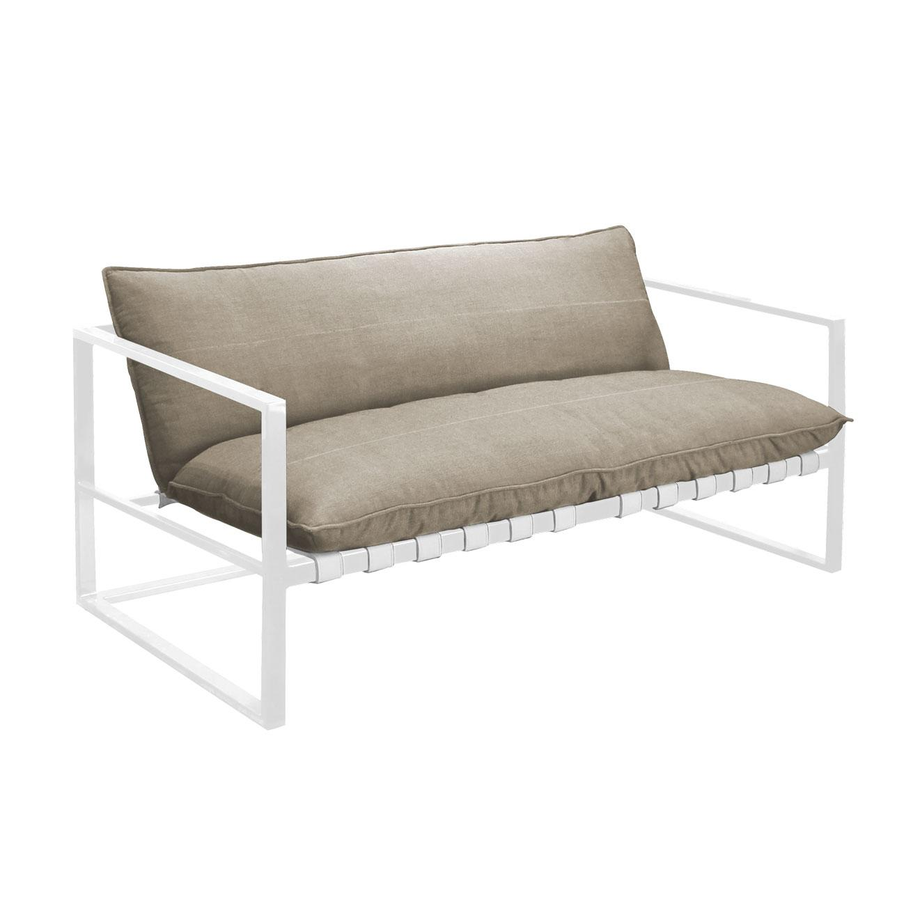 white and stone 2 seater garden sofa in aluminium and all weather fabric