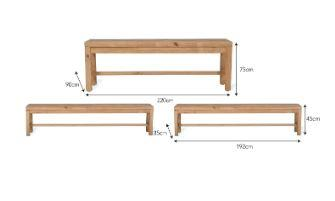 Dimensions of Pine Table and Bench Set for Indoor Use Available in Two Sizes