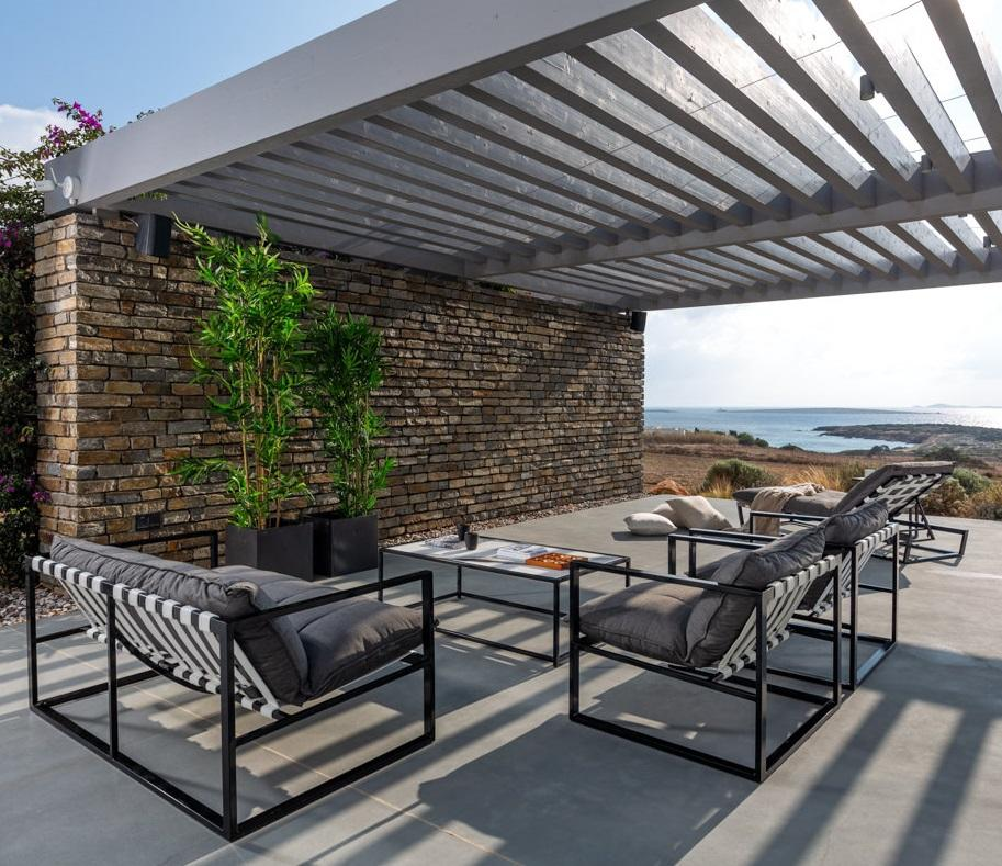 aluminium garden armchairs in charcoal and stone