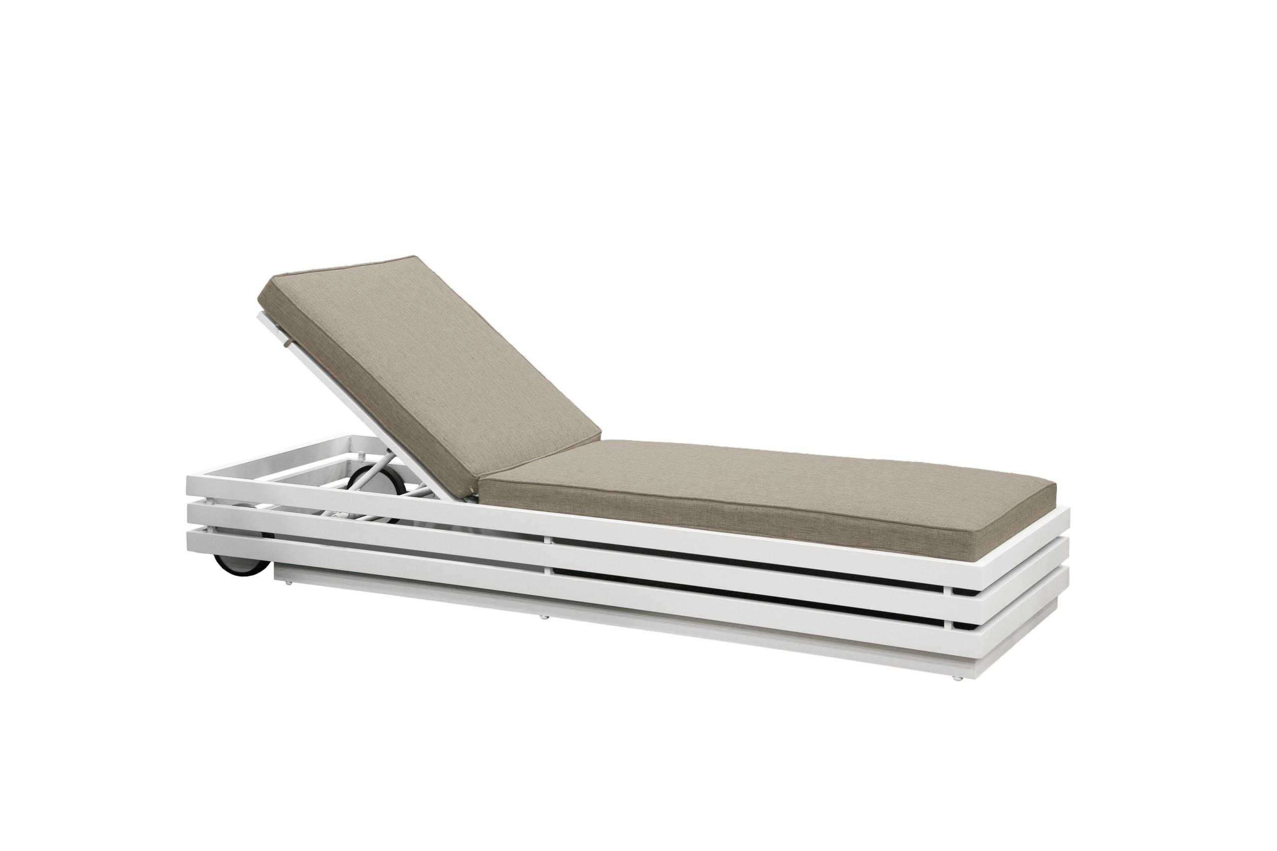 white and stone aluminium and all weather fabric sun lounger