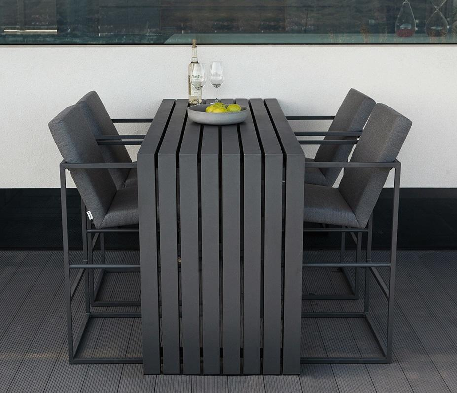 aluminium outdoor bar table and high bar stools seats in charcoal and slate