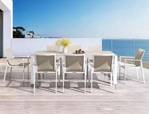 textilene sling garden dining chair and metal ceramic patio dining table