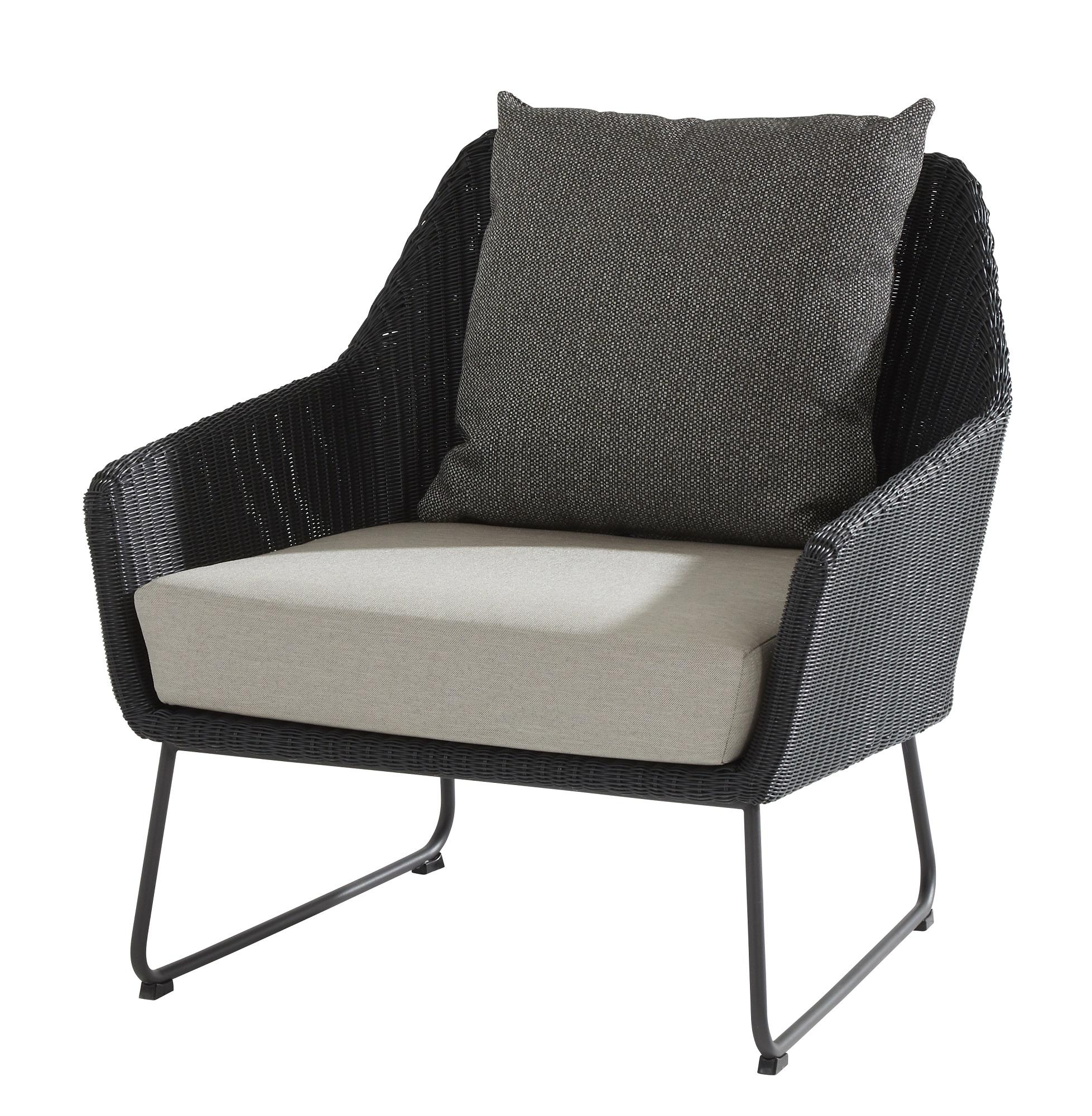 rattan garden lounge armchair in all weather rattan weave cut out