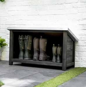 welly boot store for garden and outdoor use in weatherproof blackened hardwood