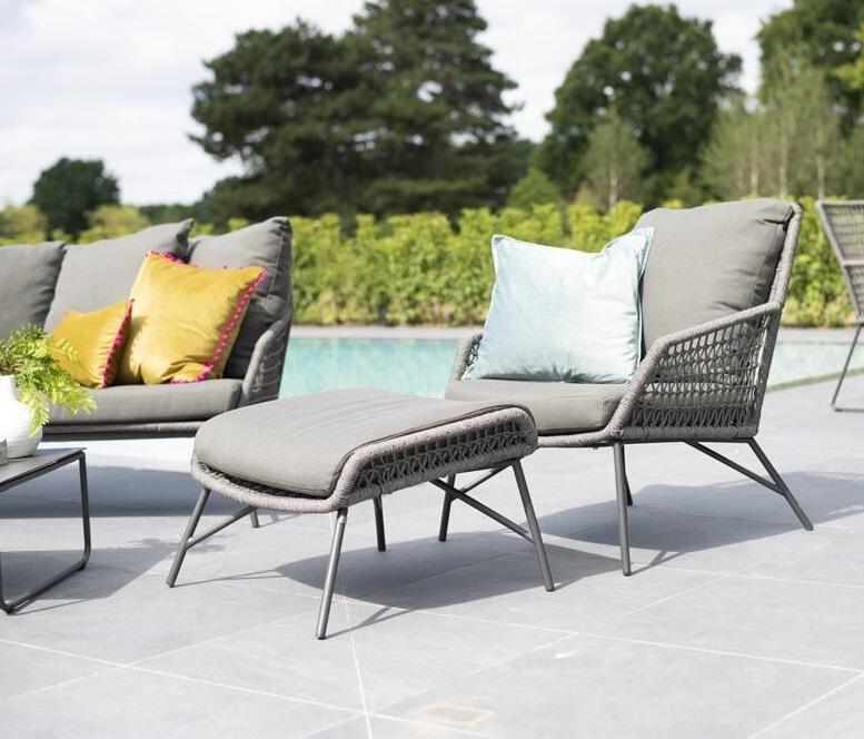 modern grey garden lounge armchair and footstool