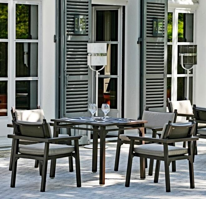 aluminium metal garden or patio dining furniture in dark grey