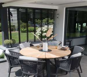 rope all weather garden dining chairs and round teak table