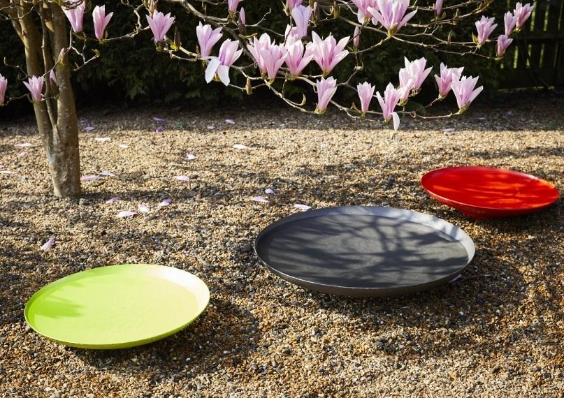 modern steel water bowls in multiple colours for garden