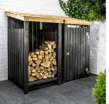 black modern spruce garden outdoor log storage