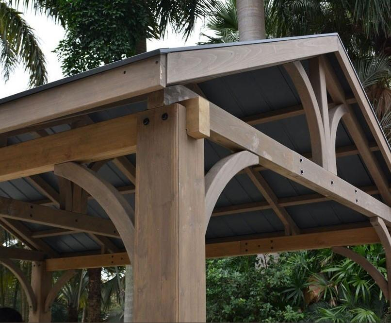 cedar wood garden gazebo roof and struts detail