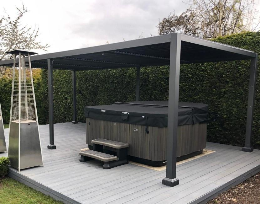 high quality contemporary garden gazebo with a slatted ...