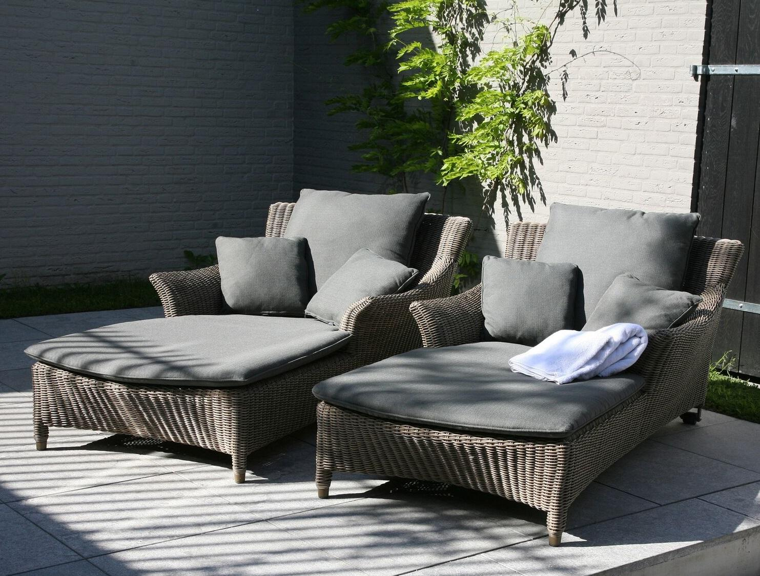 rattan weave single large sun loungers