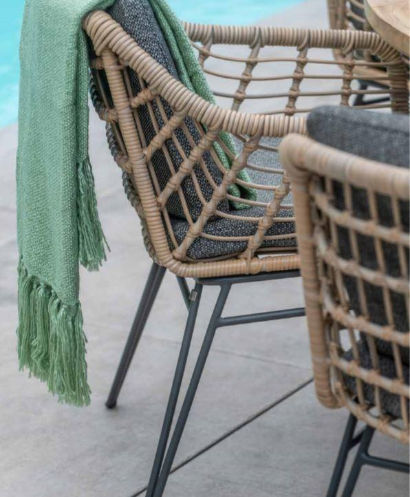 rope weave weatherproof garden dining table detail