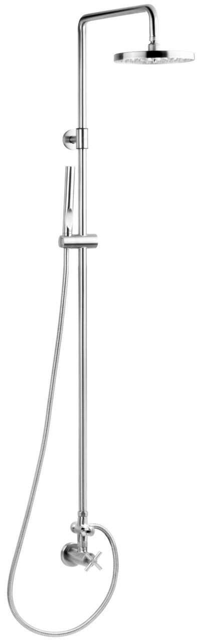 stainless steel outdoor shower with hand held shower