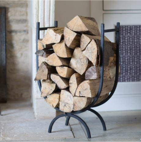 wrought iron tall log store for fireside and log burners