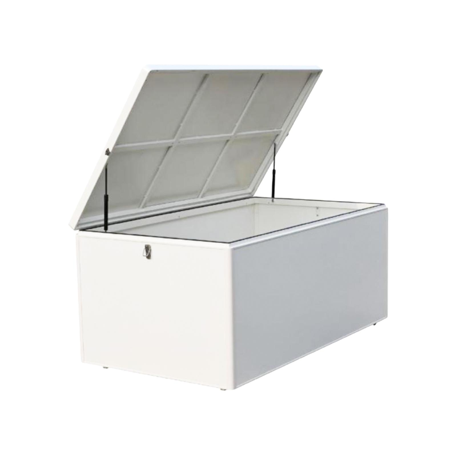 white aluminium metal garden storage cushion box open