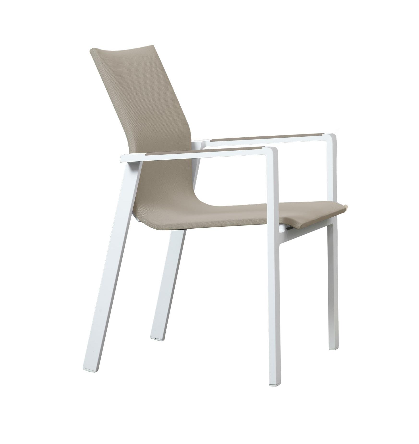 sling textilene garden dining chair stacking in stone and white cut out