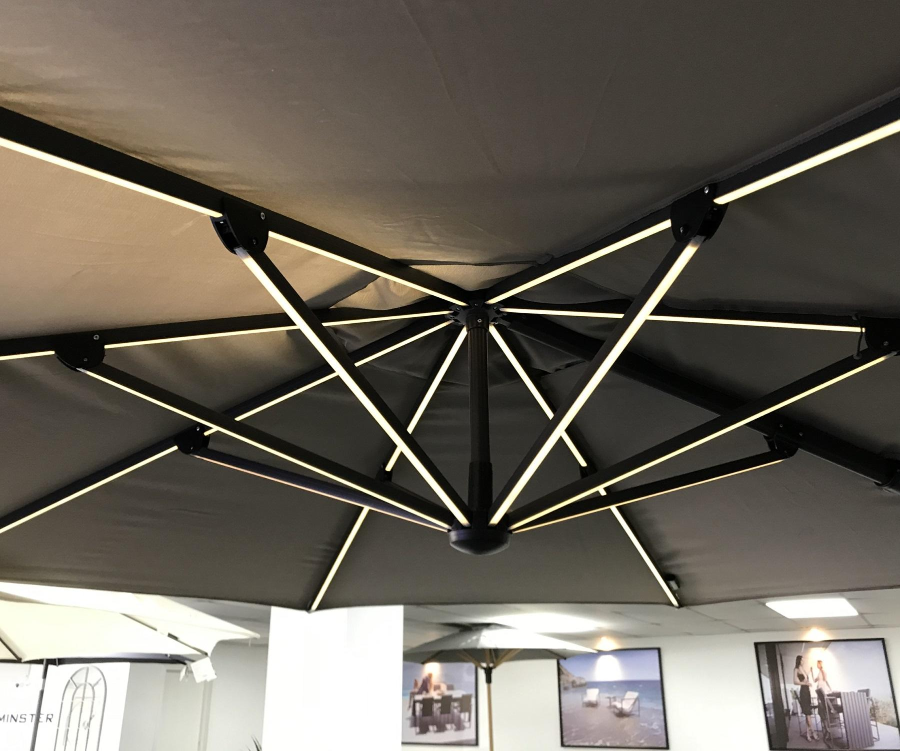 charcoal 3 x 4 m cantilever garden parasol with led lights