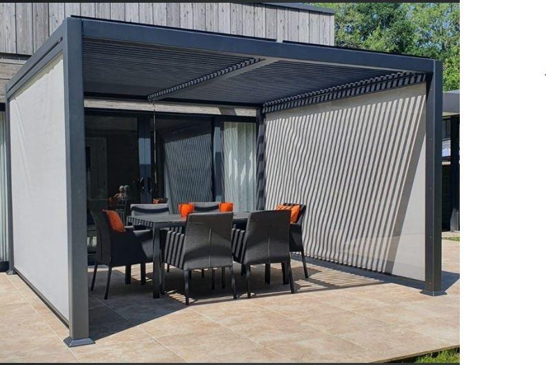 grey gazebo in modern aluminium with slatted louvre roof over hot tub in garden