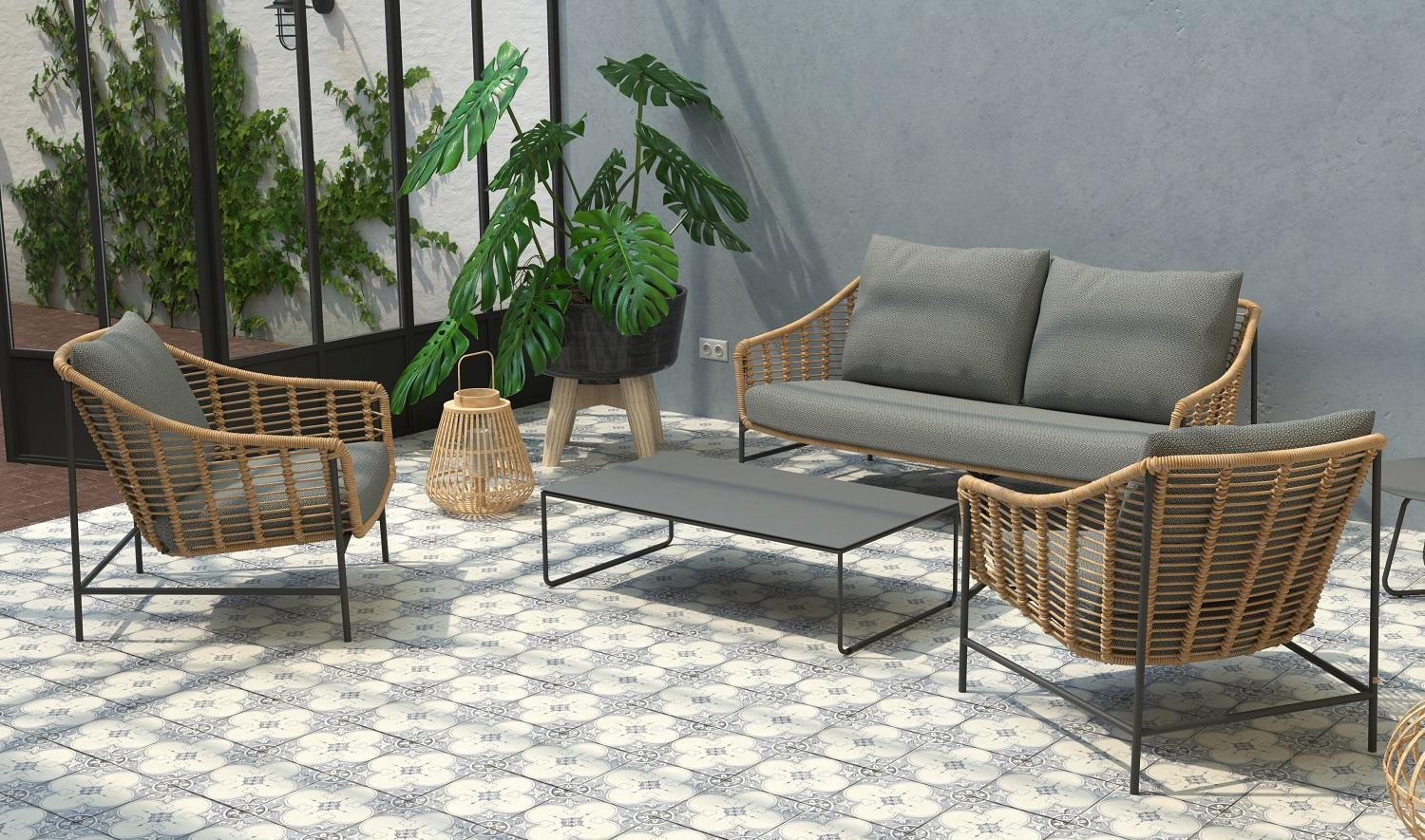 rope weave all weather garden lounge sofa and armchairs