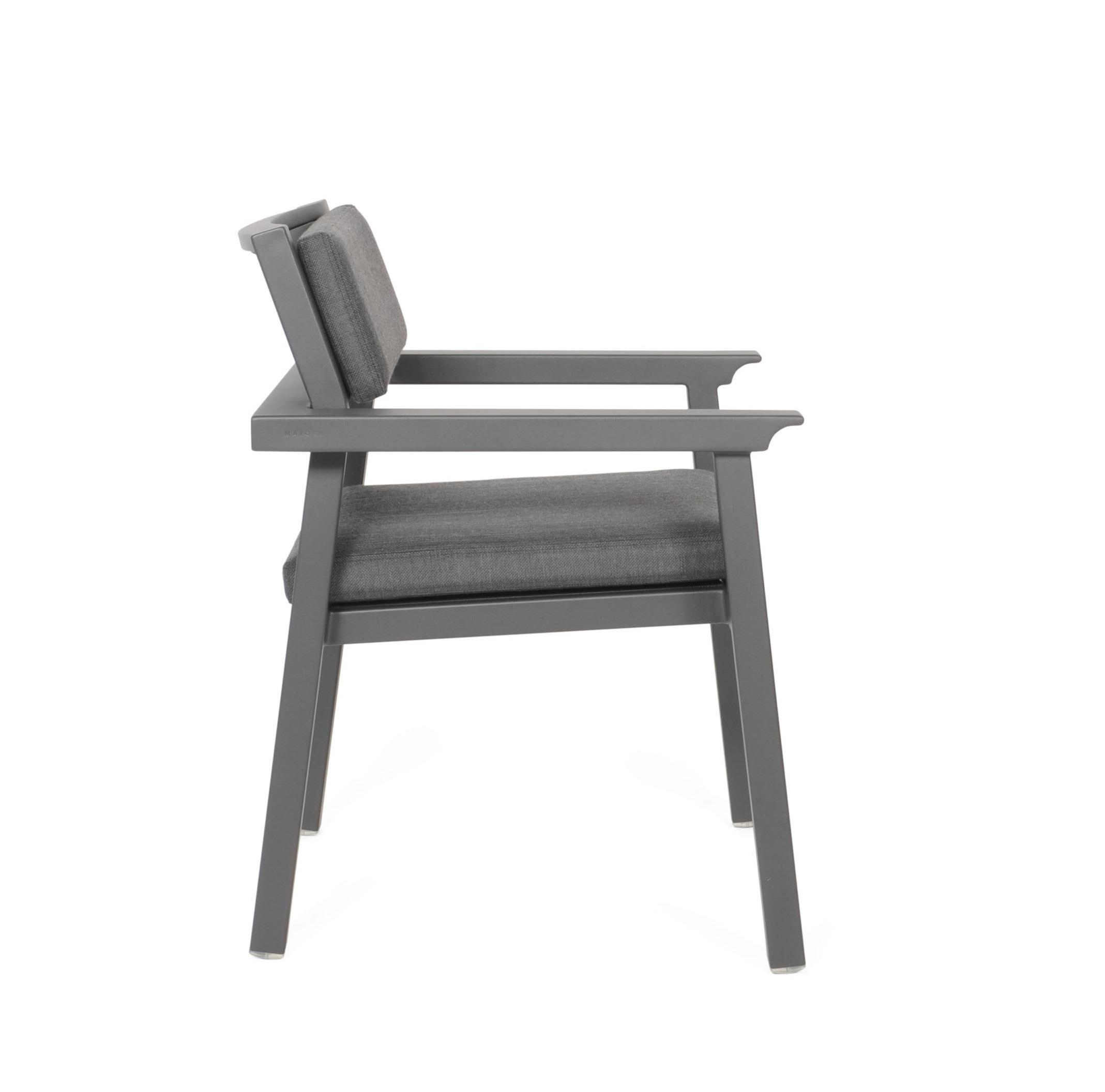 grey aluminium garden dining chair side view