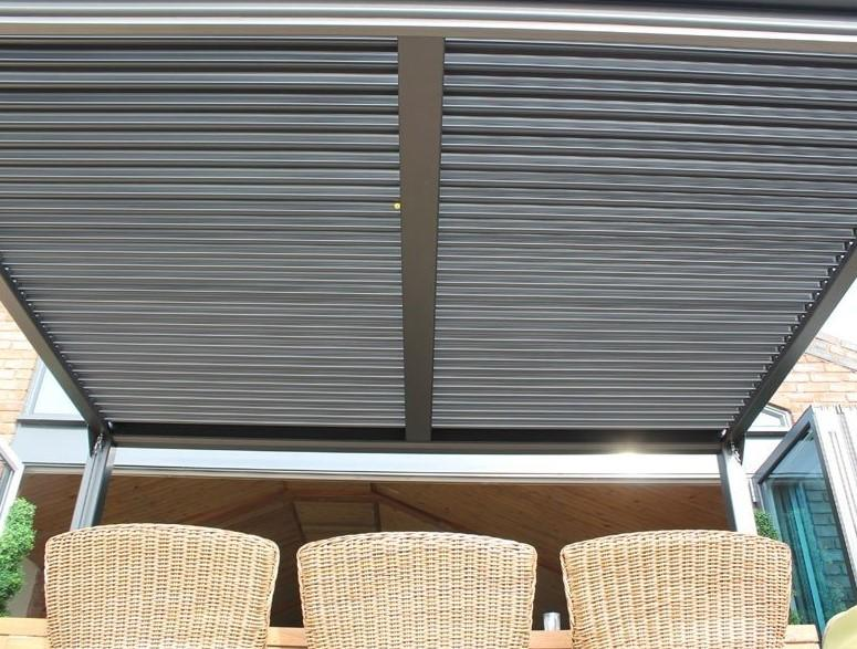 garden gazebo grey aluminium slatted louvered roof