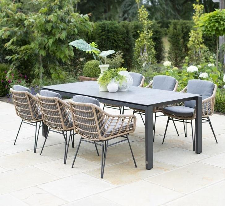 open wave rope garden dining chairs country style with teak rectangle garden dining table