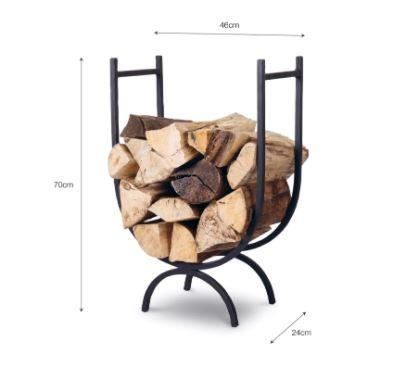 dimensions of wrought iron modern log store basket in strong metal