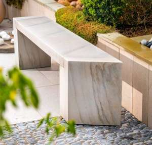cream sandstone garden bench in natural stone