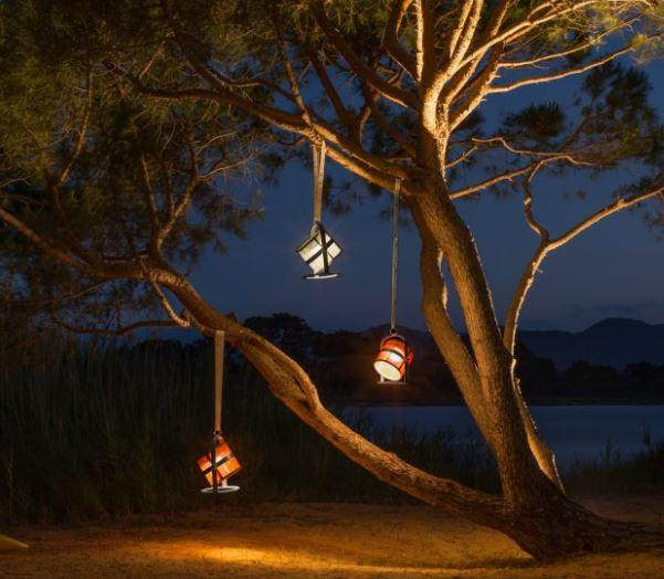 hanging high powered solar lights in a tree