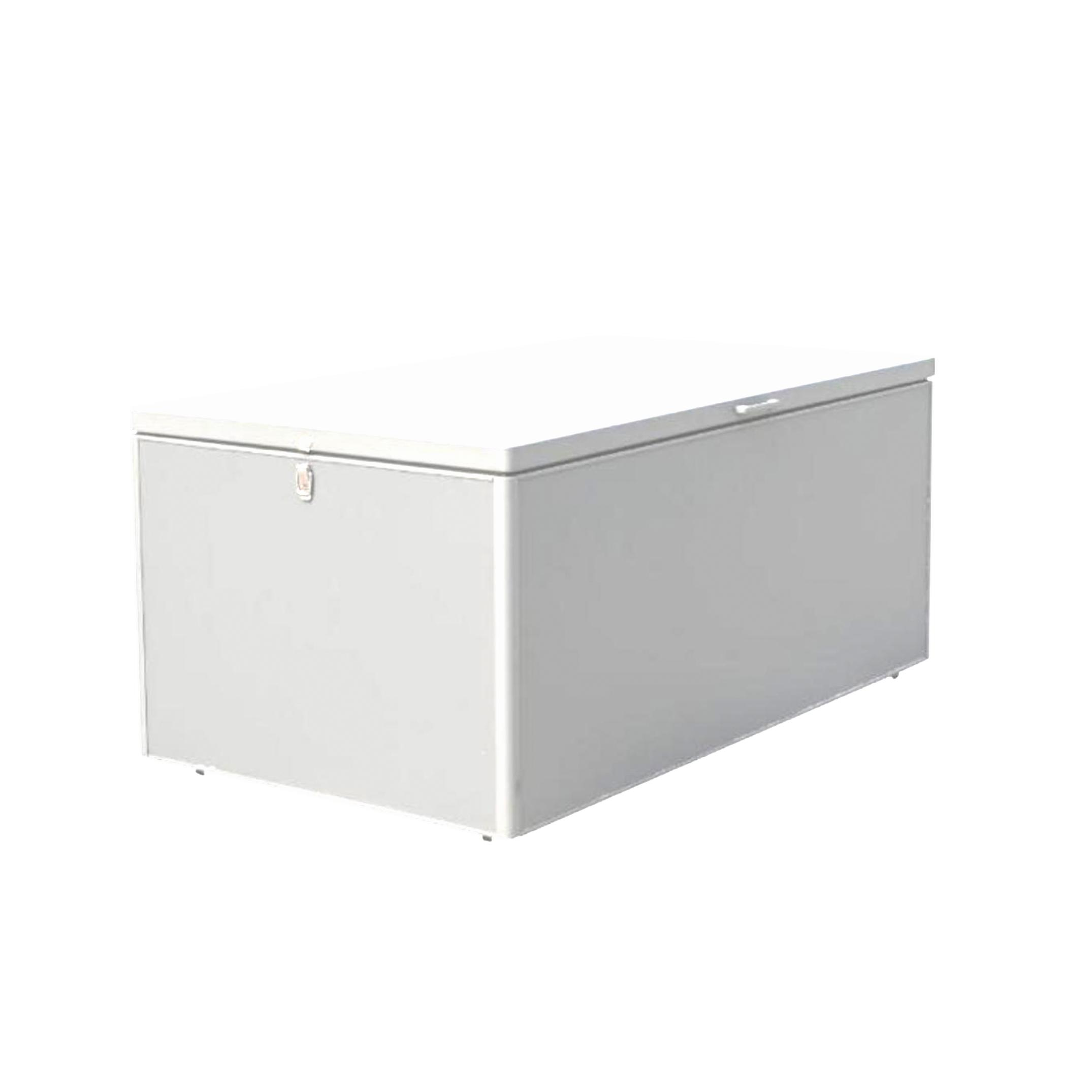 white aluminium metal garden storage cushion box closed