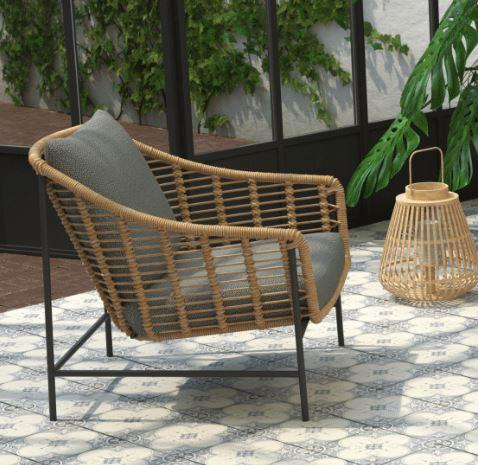 all weather garden rope weave lounge armchair grey cushions
