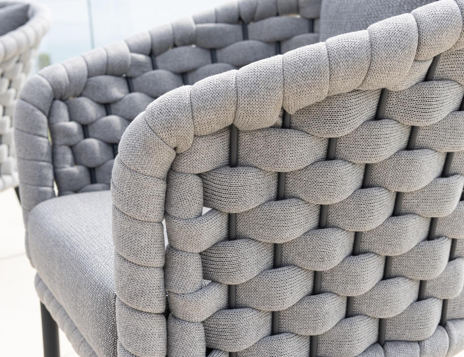 wide rope weave detail garden lounge armchair
