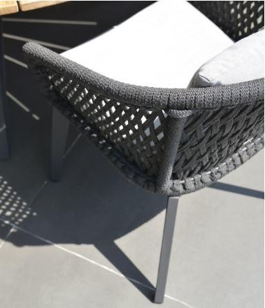 rope all weather garden dining chair detail