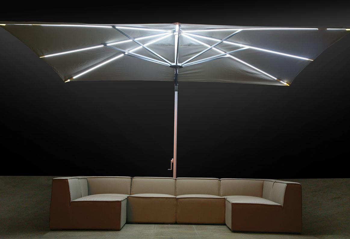 cantilever  parasol large 3 x 4 m with integrated LED lights