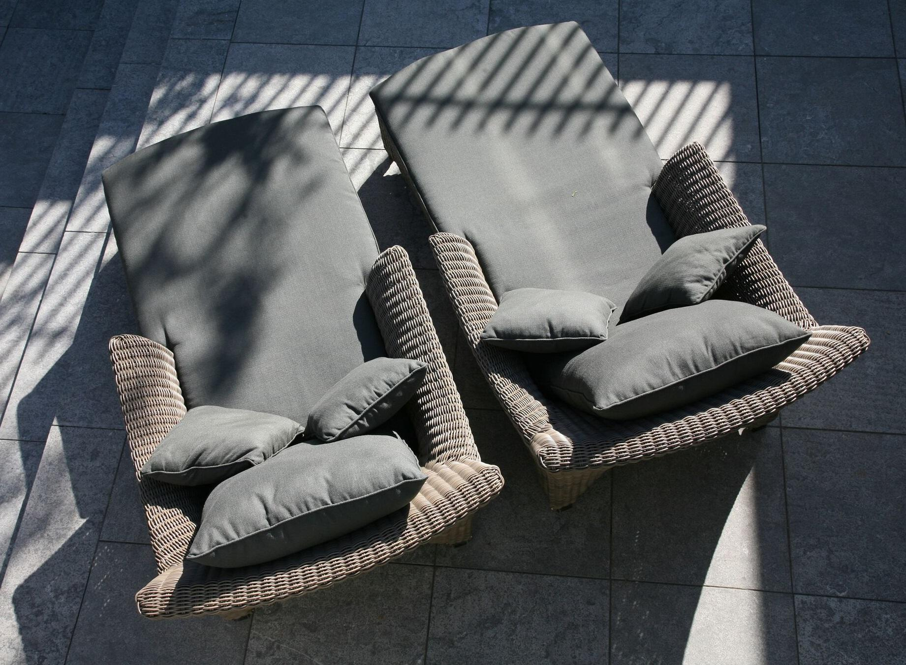 rattan daybed or sun loungers from above view