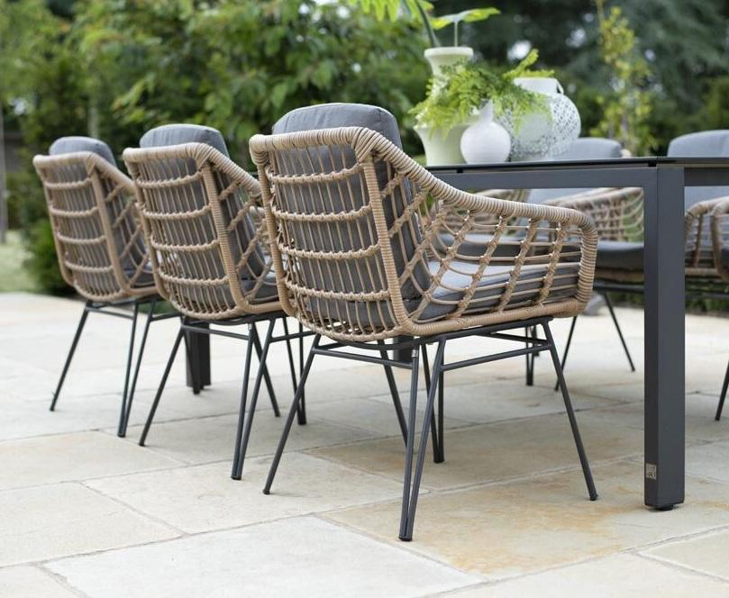 open rope weave country garden dining chair