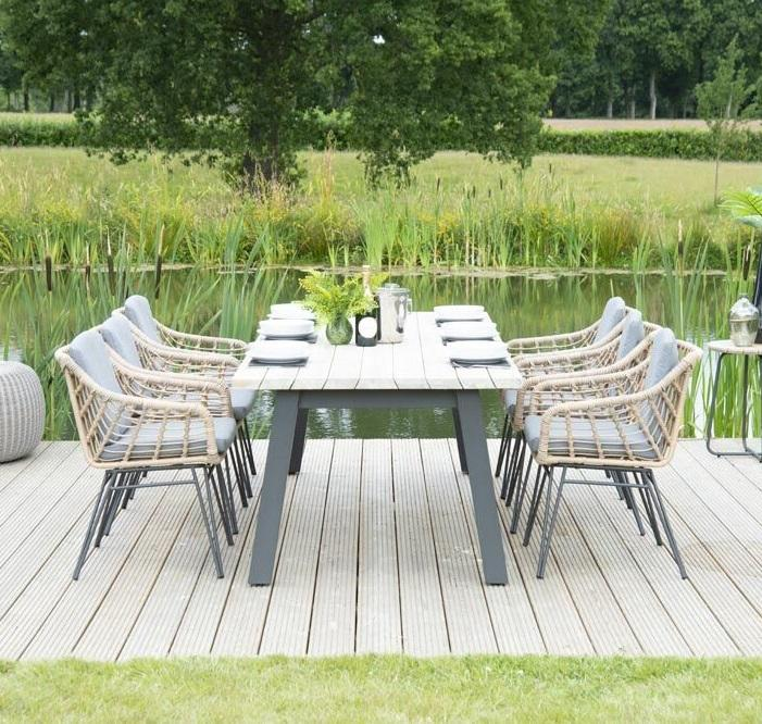 open weave rope garden dining chairs with HPL and aluminium garden table