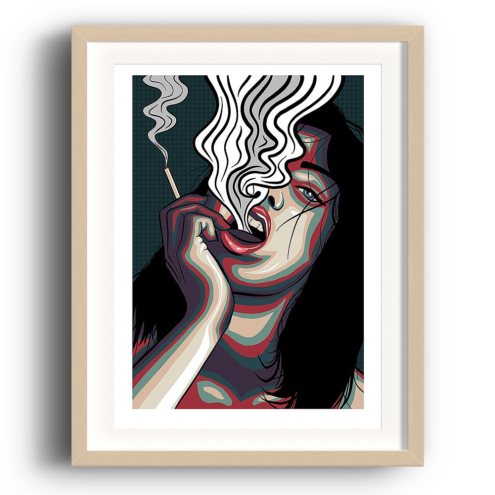 A digital pop art painting by Lily Bourne printed on eco fine art paper titled Release showing showing a female exhale smoke from a cigarette which is holding. The image is set in a beech coloured picture frame.