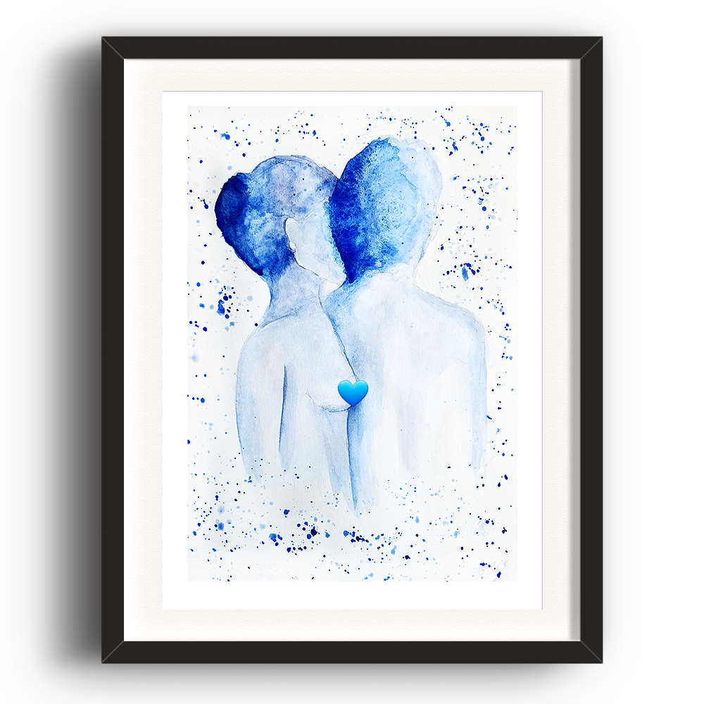 A watercolour print by Clarrie-Anne on eco fine art paper titled Just Us. A naked top half of a male and female facing away from the viewer in blue watercolour with splash background. The image is set in a black coloured picture frame.