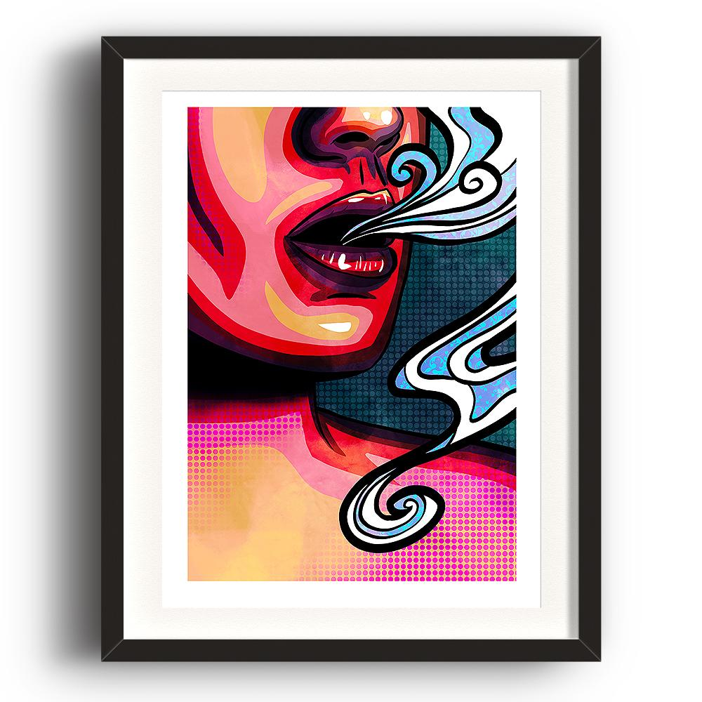 A pop art styled digital painting by Lily Bourne printed on eco fine art paper titled Emanate showing the mouth of a female exhaling breath. The image is set in a black coloured picture frame.