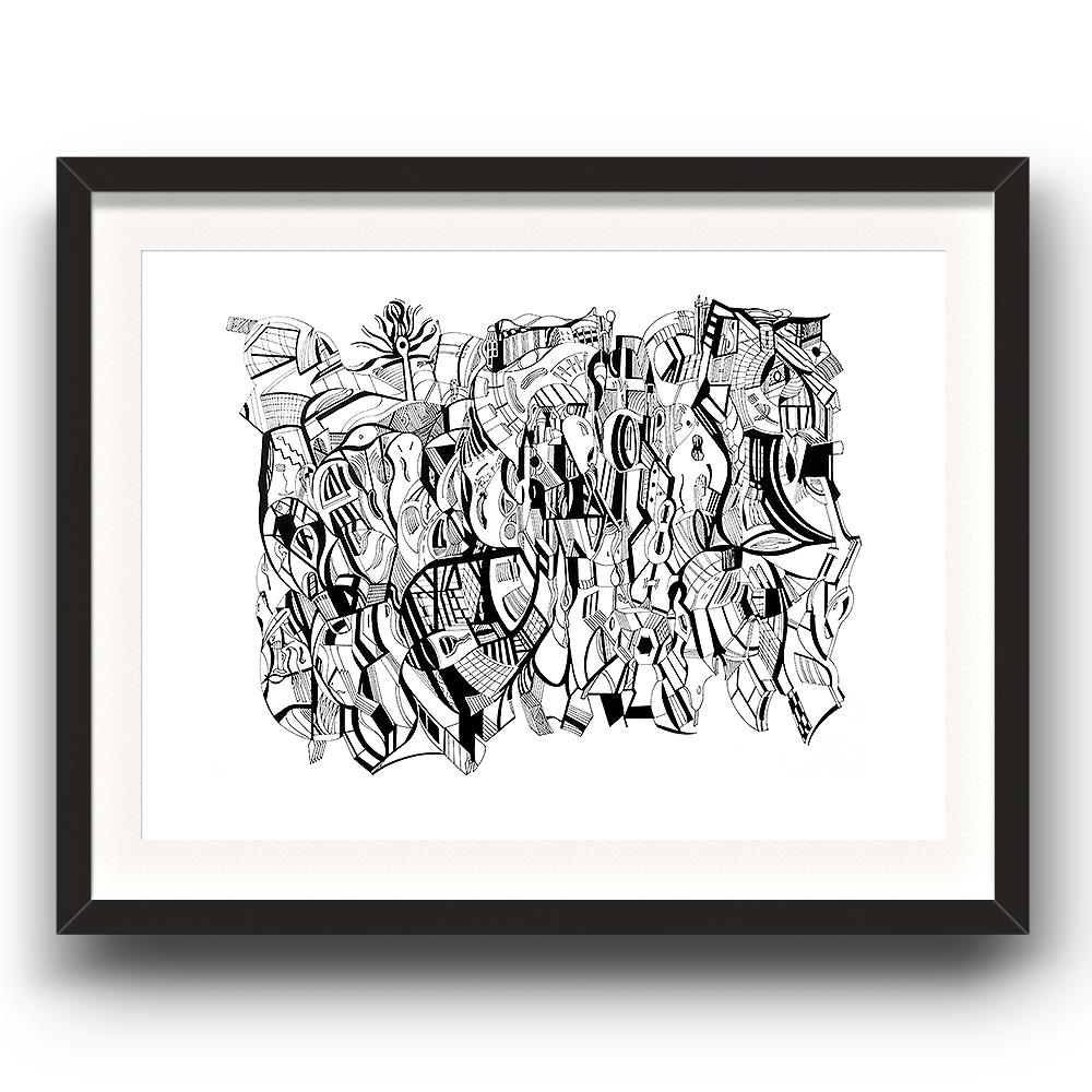 A fine art print from Jason Clarke titled Beacon drawn with a black Pentel pen. The image is set in a black coloured picture frame.