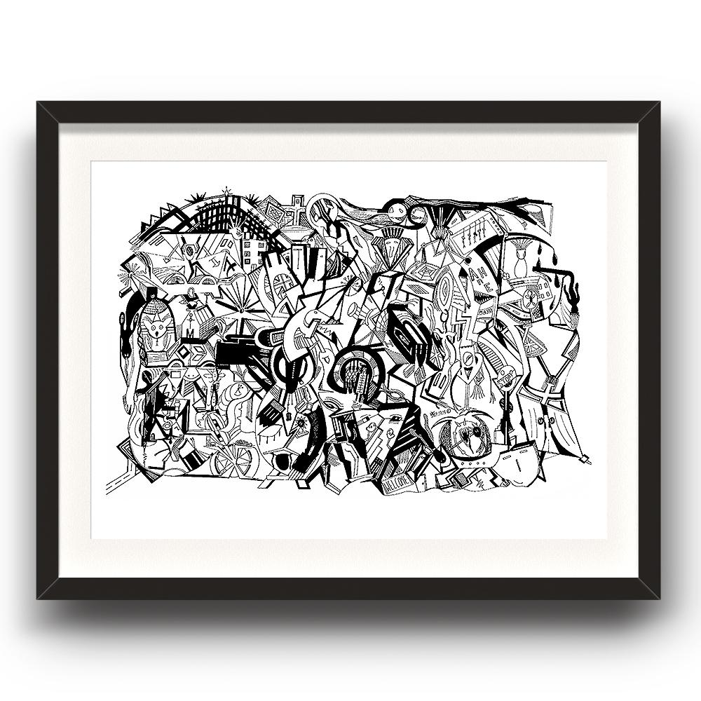 A fine art print from Jason Clarke titled Congestion drawn with a black Pentel pen. The image is set in a black coloured picture frame.